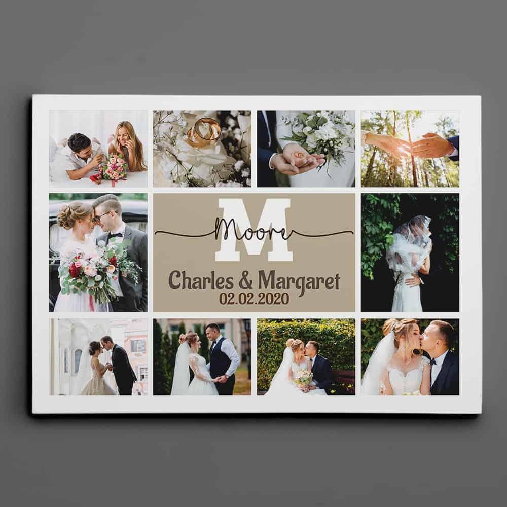 Wedding Monogram Photo Collage Canvas