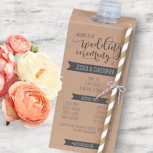 wedding ceremony program:Printable Wedding Program Bottle Tag