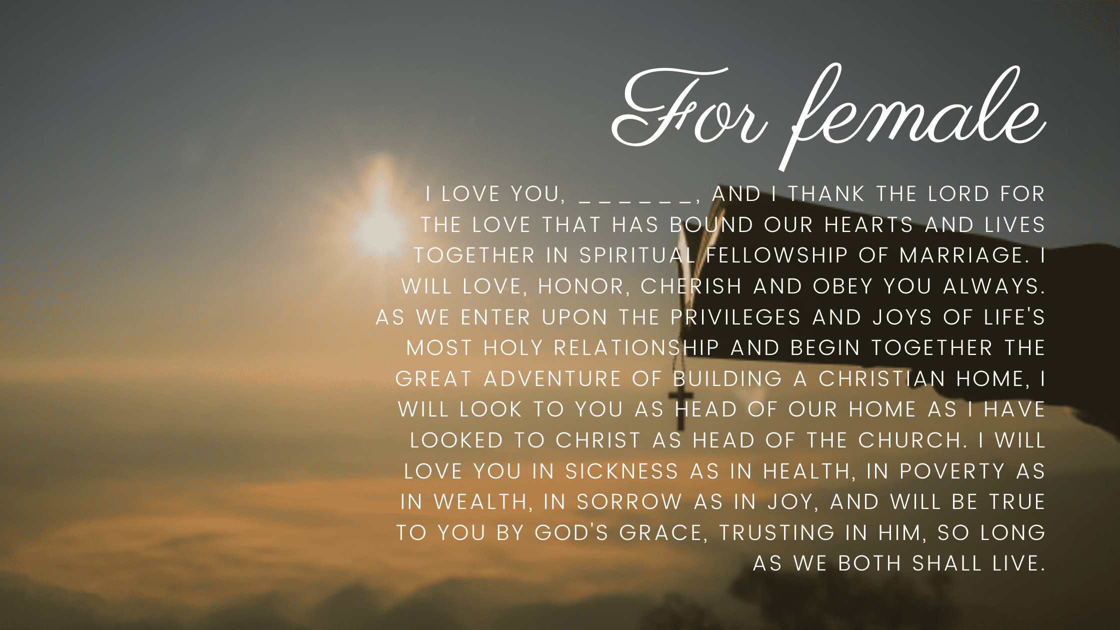 Christian Wedding Vows for her
