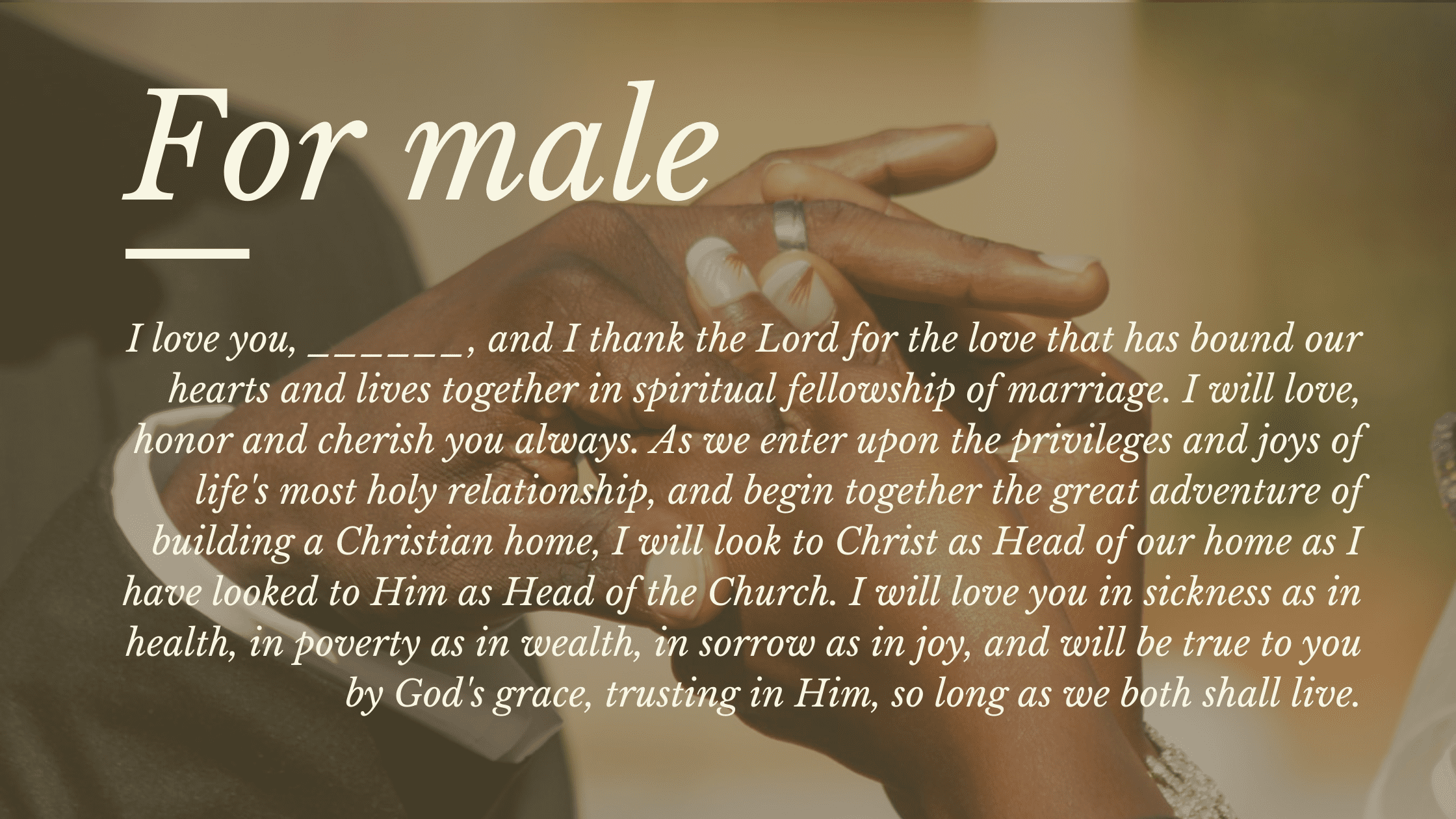 christian wedding vows for him