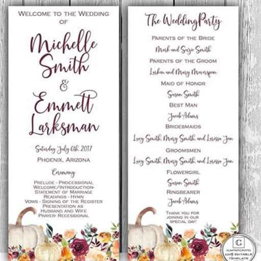 wedding program examples:go rustic