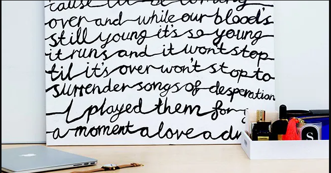 Hand-Painted Song Lyrics