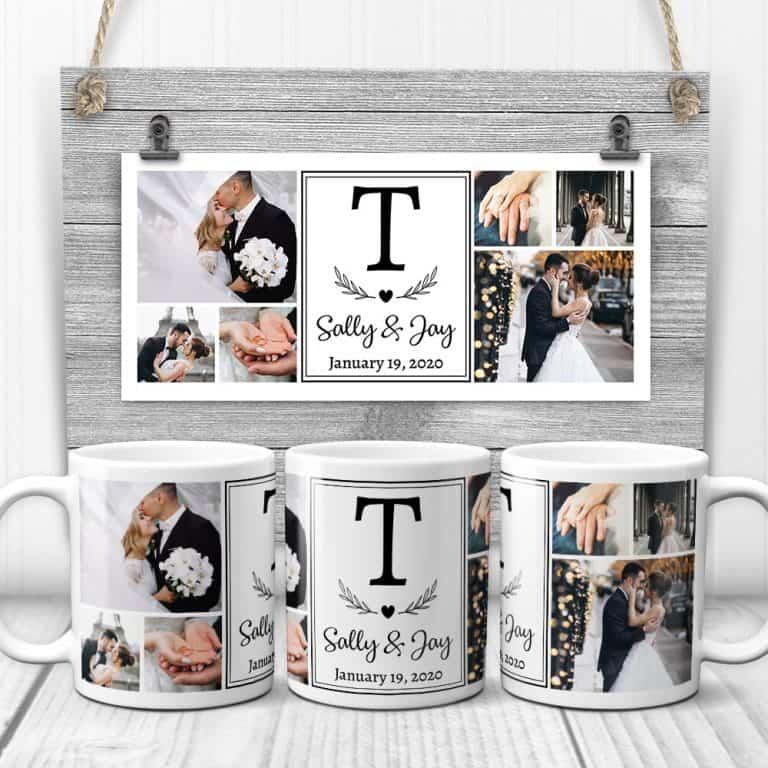 Wedding Photo Collage Monogram Mug