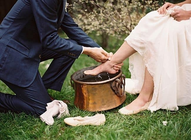 traditional wedding ceremony - wash hands and feet