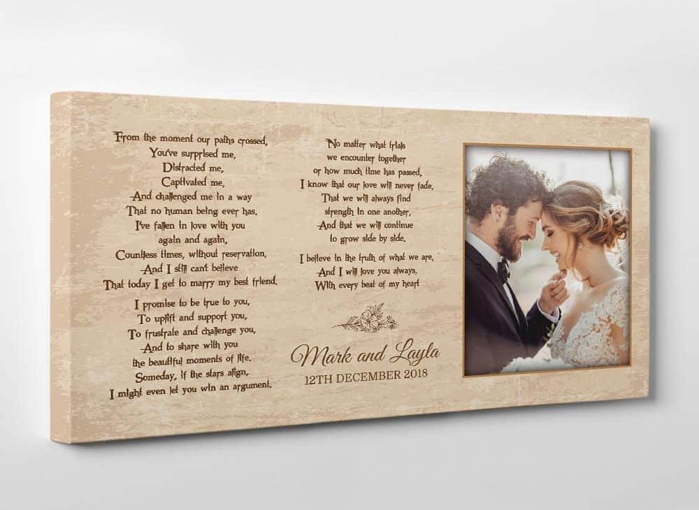 wedding vow custom photo canvas