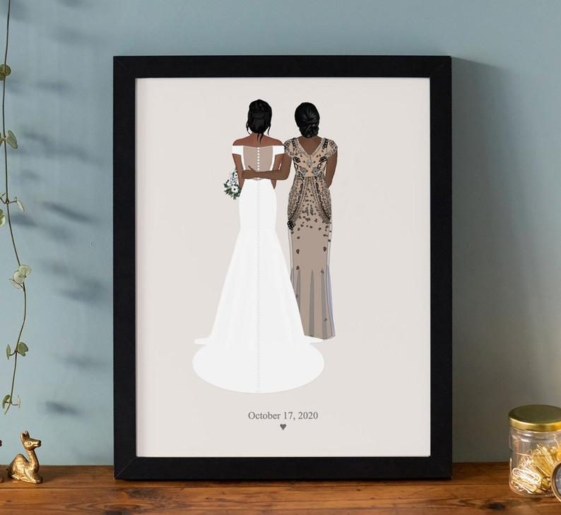 gifts for the bride from her mother:Custom Bridal Drawing