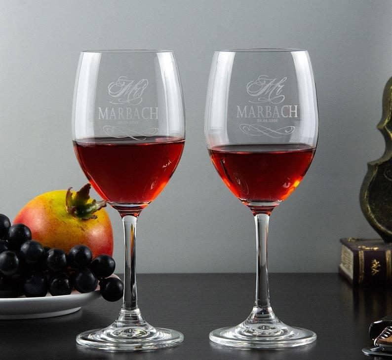 Custom Engraved Mr. and Mrs. Wine Glasses