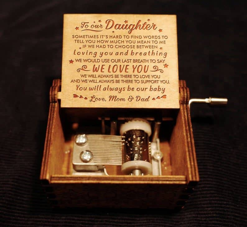 wedding gifts from father to daughter:Custom Music Box From Mom and Dad