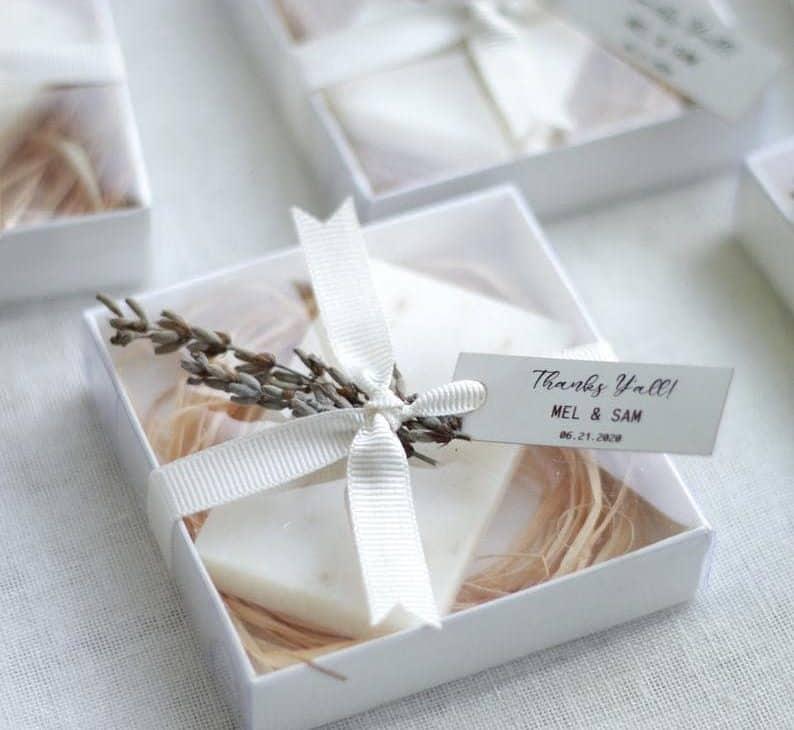 inexpensive wedding favors:Lavender Soap Favors
