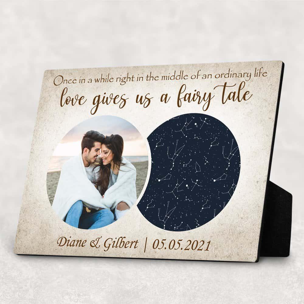 A Fairy Tale Custom Photo Star Map Desktop Plaque