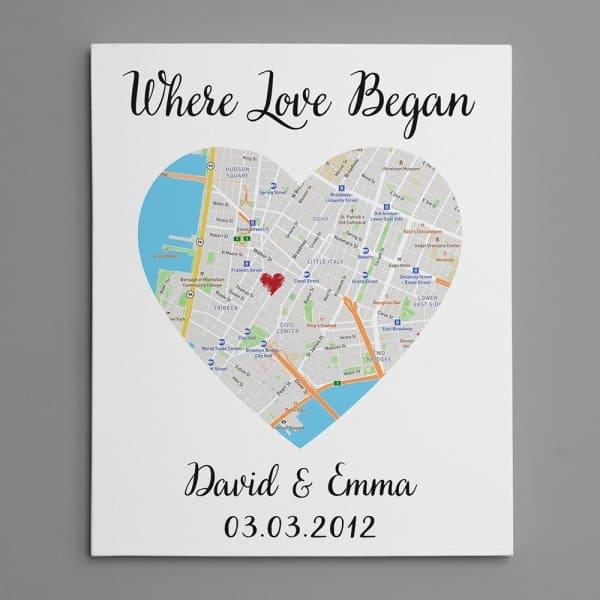 Custom One Heart Map Art Canvas Print