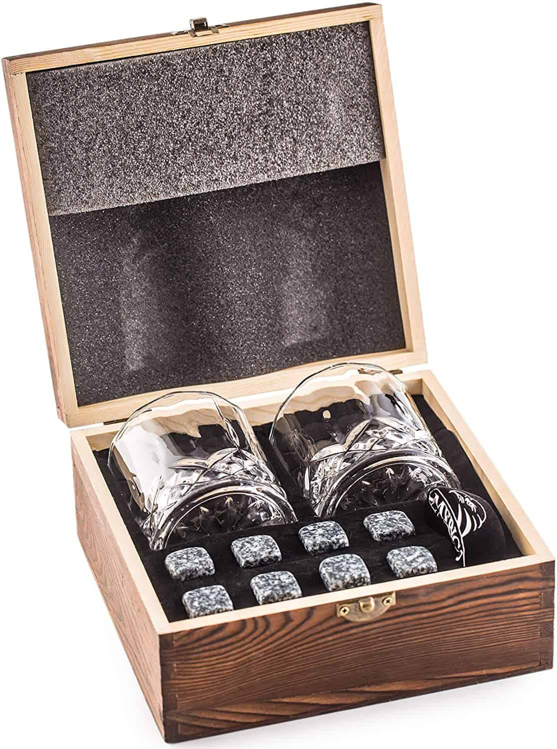 Whiskey Stones Gift Set with 2 Glasses