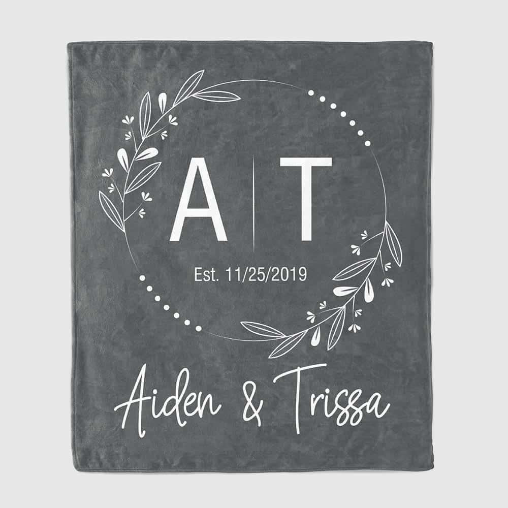 Couple Initials Anniversary Personalized Throw Blanket