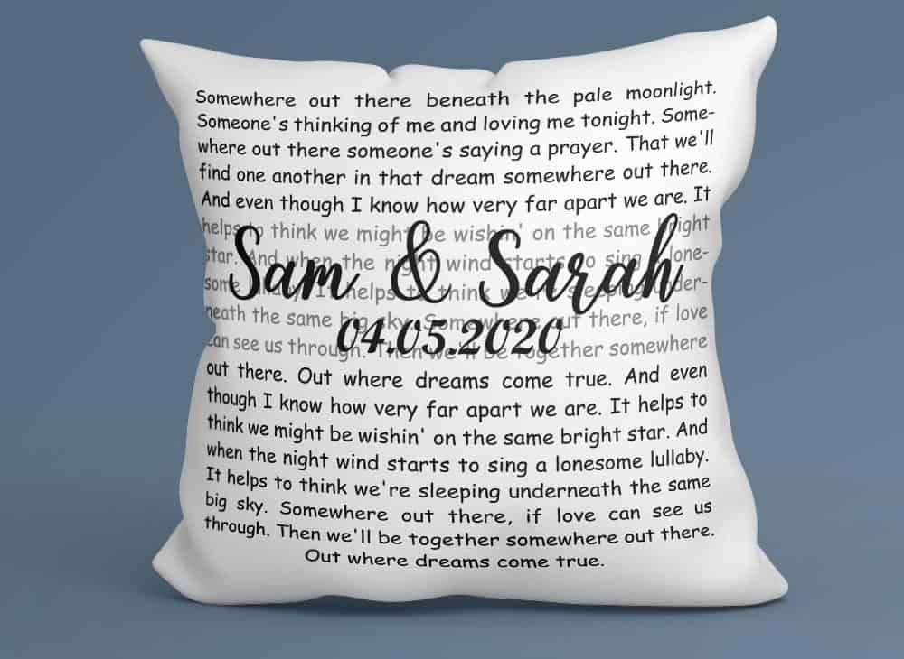 wedding gift for daughter: custom name song lyric pillow