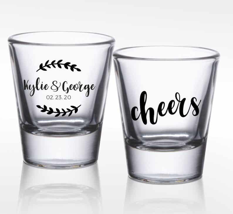 Customized Wedding Shot Glasses, Personalized Wedding Shot Glass