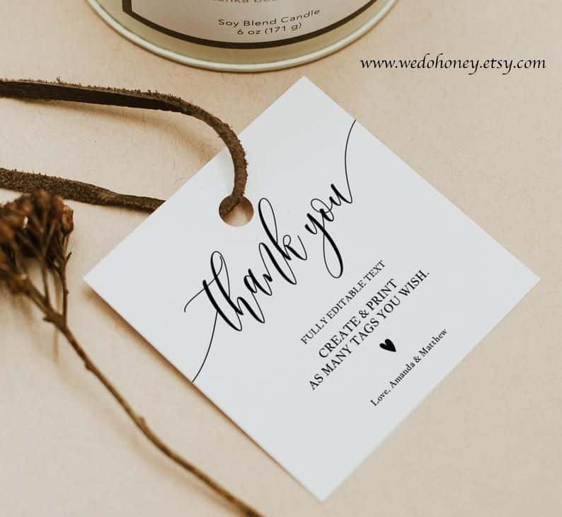 personalized wedding favors - thank you tags
