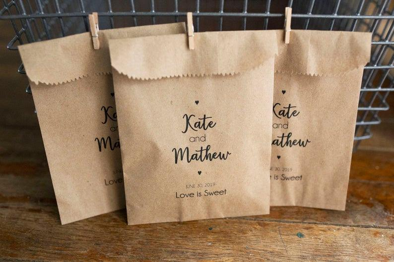 personalized wedding favors - craft bags