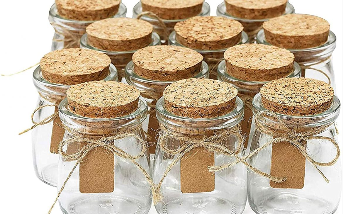 Glass Favor Jar with Cork Lids - personalized wedding favors