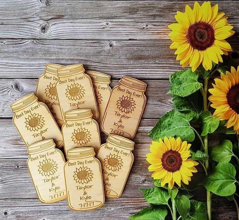 sunflower glass magnets