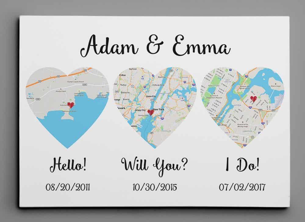 second wedding gift idea - map canvas print