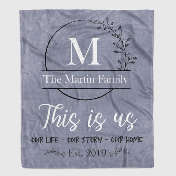 """""""This is Us"""" Personalized Family Throw Blanket"""