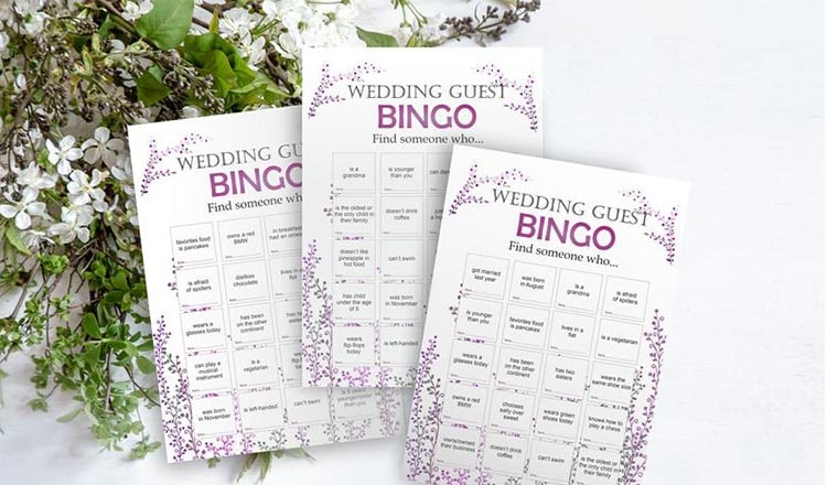 fun things to do at weddings: wedding bingo