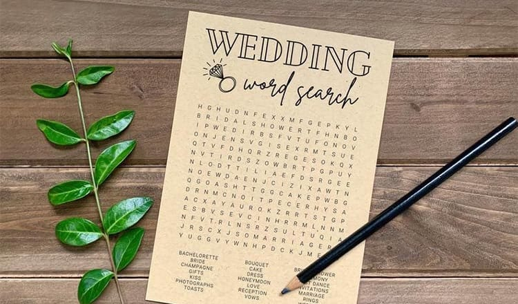fun things to do at weddings:wedding word search