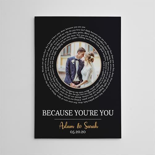 spiral-wedding song canvas with photo