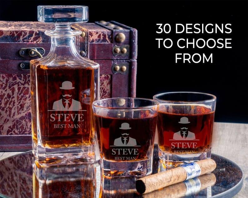 Engraved liquor decanters