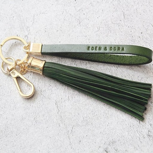 practical bridesmaid gifts:Leather Tassel Keychain