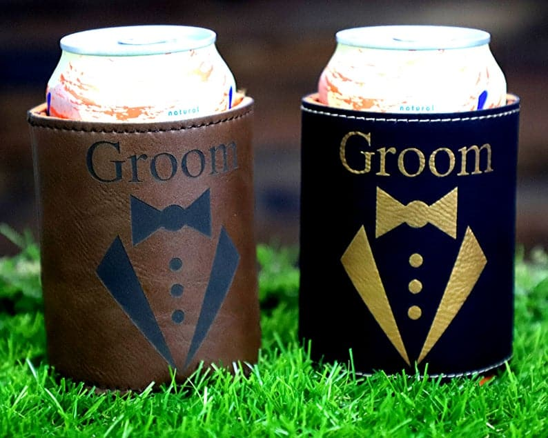 Leather can cooler: cheap groomsmen gifts under 10
