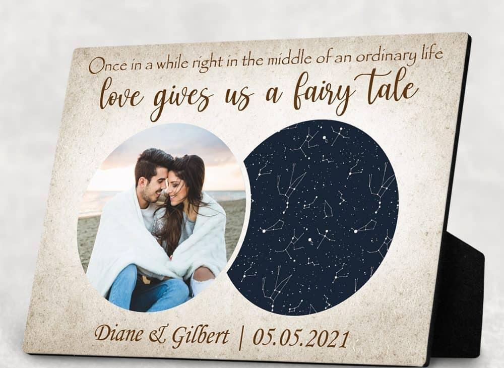 Love Gives Us A Fairy Tale Custom Photo Star Map Desktop Plaque
