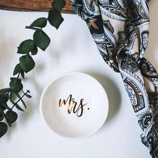 gift to bride from bridesmaid: Ring dish