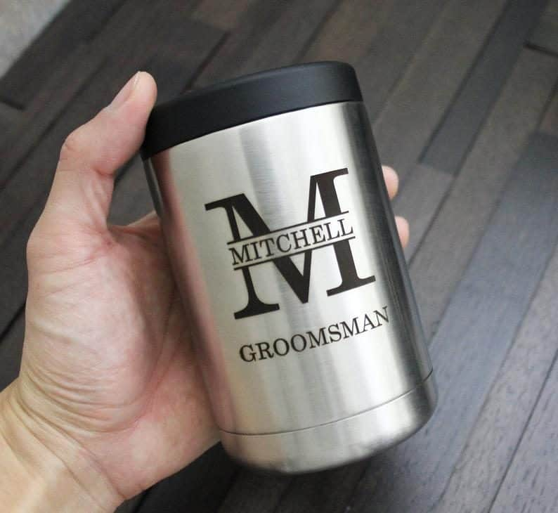 Silver Stainless Steel Can Cooler Tumbler:inexpensive groomsmen gifts ideas