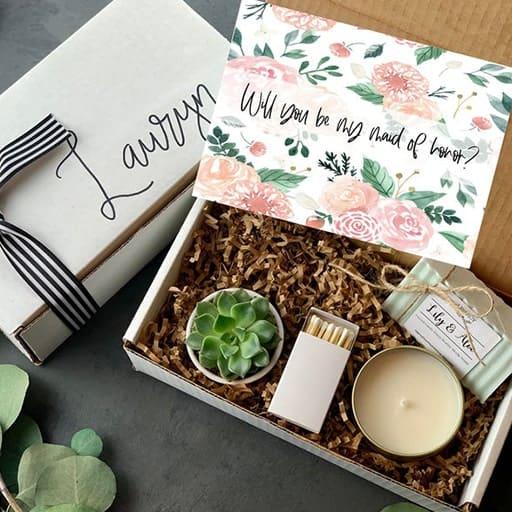 cheap bridesmaid gifts:Succulent Gift Box