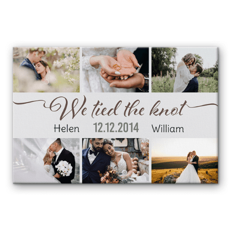 We Tied The Knot Custom Photo Collage Canvas Print