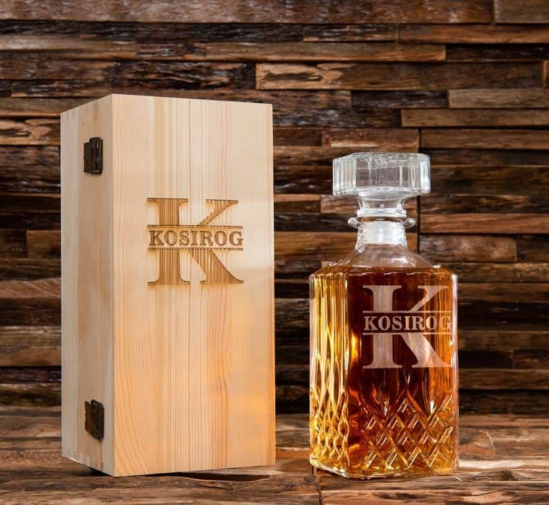 Whiskey Decanter Set with Wooden Box