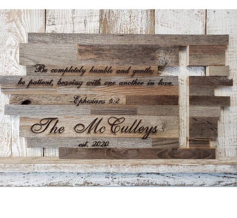 christian wedding gifts - Reclaimed Wood