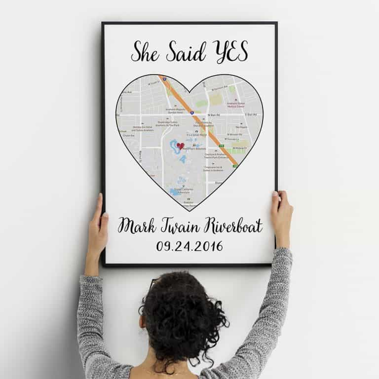 wedding gifts for brothers - Custom One Heart Map Art Canvas Print
