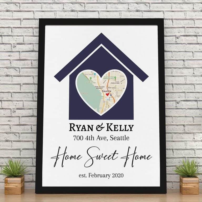 Home Sweet Home Custom Map Canvas Print