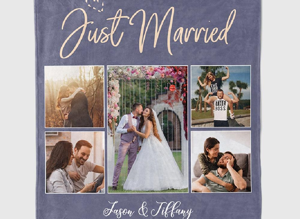 Just Married Custom Photo Blanket