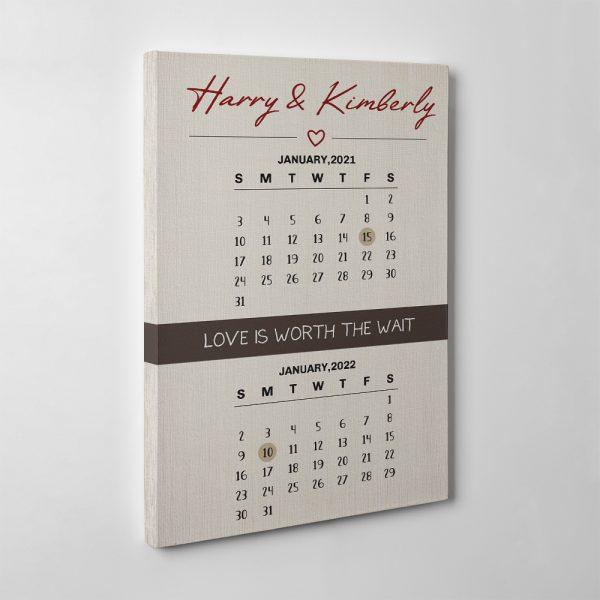 Love Is Worth The Wait Postponed Wedding Calendar Canvas Print