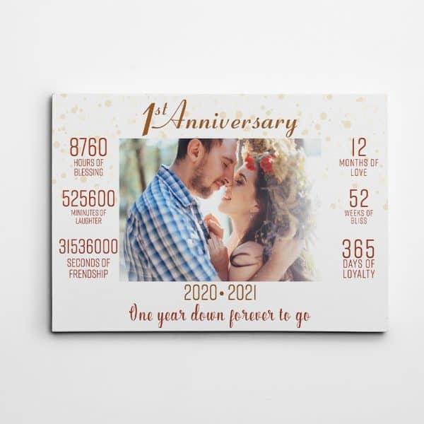1st Anniversary Custom Photo Canvas Print