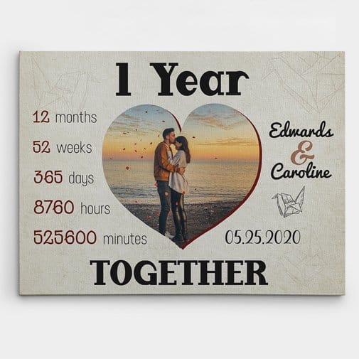 1 Year TogetherCustom Photo Canvas Print