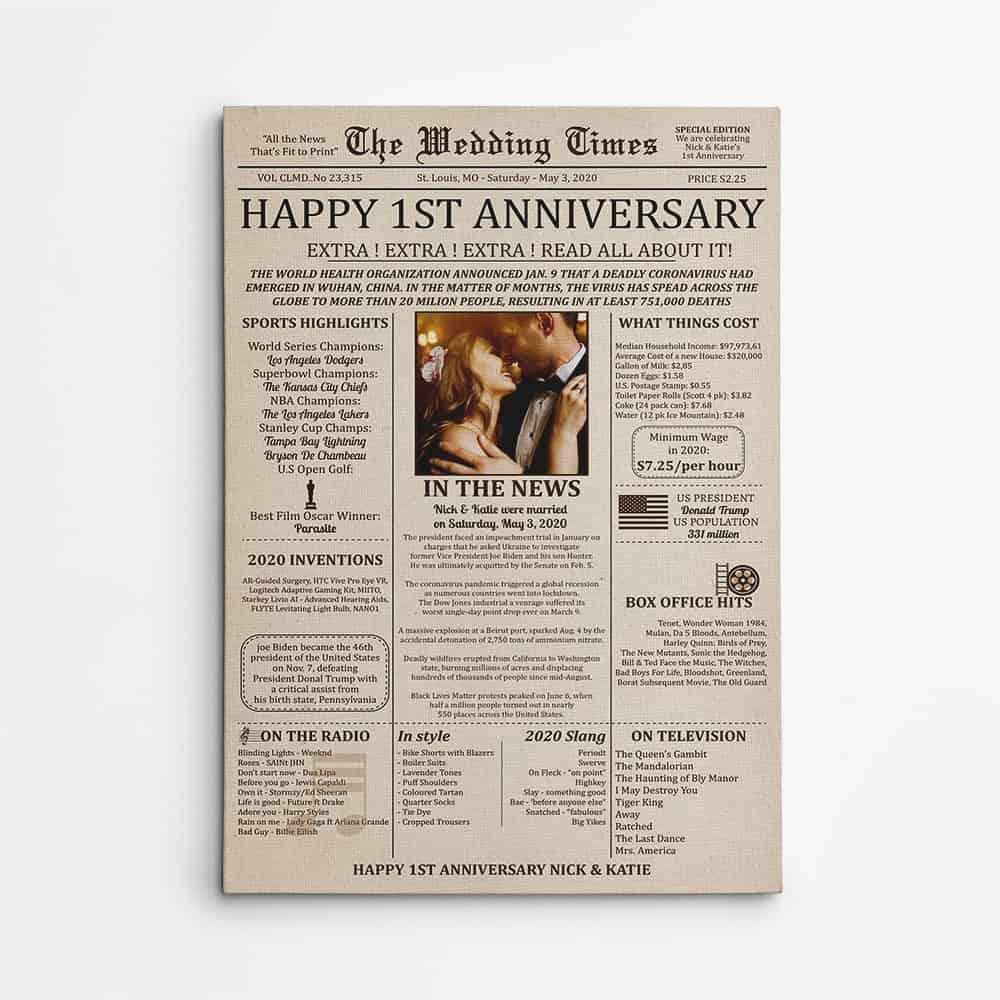 Wedding Newspaper Anniversary Poster Custom Canvas Print