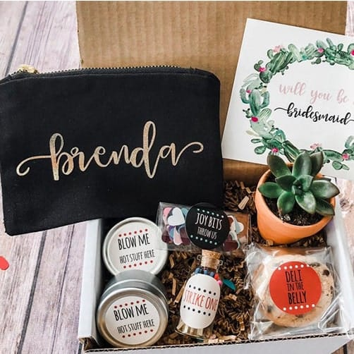 Cute Hair Tie: Succulent Gift Box: maid of honor proposal gifts