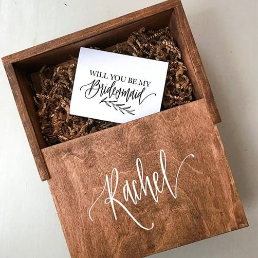 Wooden bridesmaid Gift Box