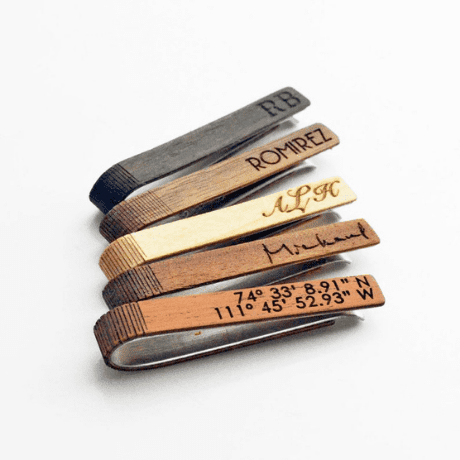 Wooden Tie Clip - Personalized groomsmen gifts