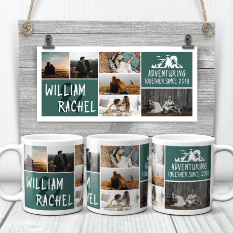 Adventuring Together Since Custom Photo Collage Mug - Wedding gifts for outdoorsy couples
