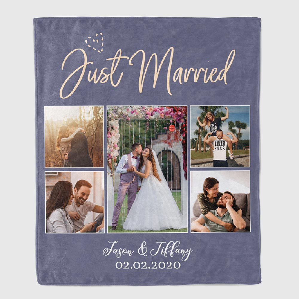 Just Married Custom Photo Blanket - gifts for son on wedding